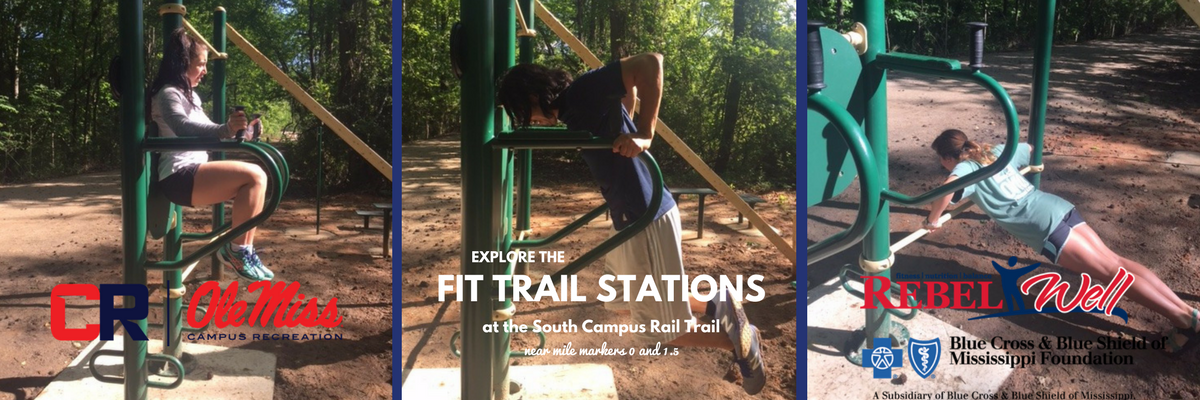 Explore the Fit Trail Stations at the South Campus Rail Trail
